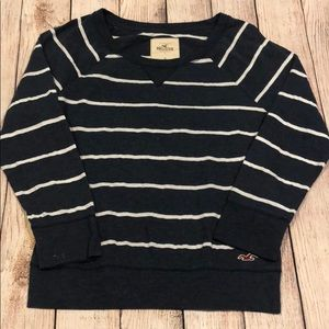 Blue and White Striped raglan Sleeve Top